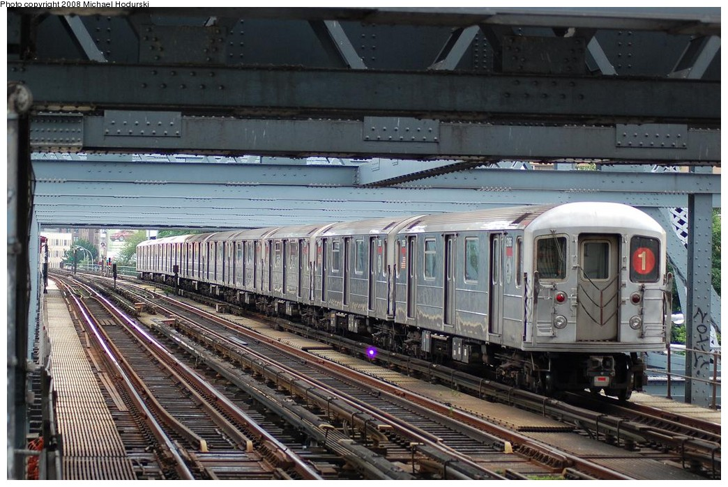 (266k, 1044x699)<br><b>Country:</b> United States<br><b>City:</b> New York<br><b>System:</b> New York City Transit<br><b>Line:</b> IRT West Side Line<br><b>Location:</b> Broadway Bridge <br><b>Route:</b> 1<br><b>Car:</b> R-62A (Bombardier, 1984-1987)  2186 <br><b>Photo by:</b> Michael Hodurski<br><b>Date:</b> 6/24/2008<br><b>Viewed (this week/total):</b> 2 / 1450