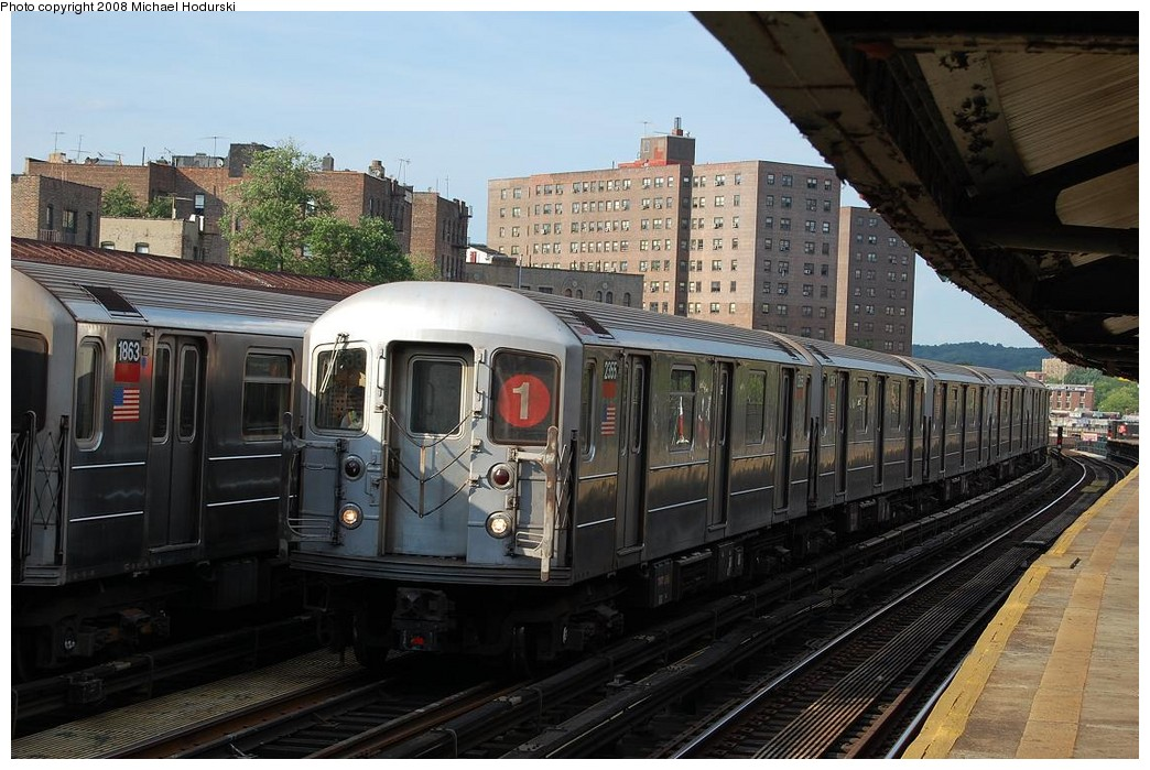 (237k, 1044x699)<br><b>Country:</b> United States<br><b>City:</b> New York<br><b>System:</b> New York City Transit<br><b>Line:</b> IRT West Side Line<br><b>Location:</b> 225th Street <br><b>Route:</b> 1<br><b>Car:</b> R-62A (Bombardier, 1984-1987)  2355 <br><b>Photo by:</b> Michael Hodurski<br><b>Date:</b> 6/24/2008<br><b>Viewed (this week/total):</b> 2 / 997