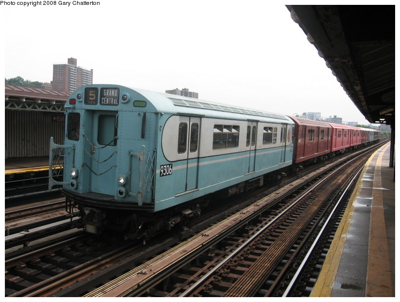 (130k, 820x620)<br><b>Country:</b> United States<br><b>City:</b> New York<br><b>System:</b> New York City Transit<br><b>Line:</b> IRT West Side Line<br><b>Location:</b> 238th Street <br><b>Route:</b> Transit Museum Nostalgia Train<br><b>Car:</b> R-33 World's Fair (St. Louis, 1963-64) 9306 <br><b>Photo by:</b> Gary Chatterton<br><b>Date:</b> 8/2/2008<br><b>Viewed (this week/total):</b> 0 / 759