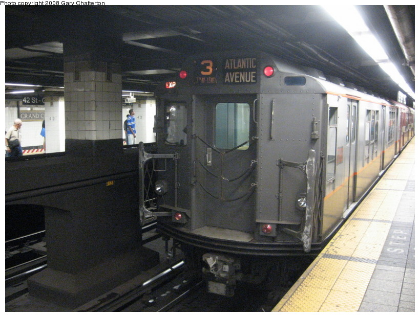 (145k, 820x620)<br><b>Country:</b> United States<br><b>City:</b> New York<br><b>System:</b> New York City Transit<br><b>Line:</b> IRT East Side Line<br><b>Location:</b> Grand Central <br><b>Route:</b> Transit Museum Nostalgia Train<br><b>Car:</b> R-12 (American Car & Foundry, 1948) 5760 <br><b>Photo by:</b> Gary Chatterton<br><b>Date:</b> 8/2/2008<br><b>Viewed (this week/total):</b> 5 / 1561