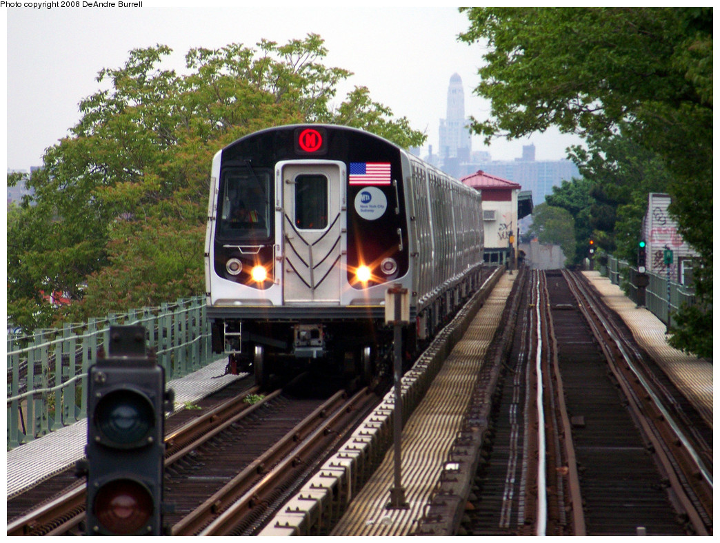 (363k, 1044x788)<br><b>Country:</b> United States<br><b>City:</b> New York<br><b>System:</b> New York City Transit<br><b>Line:</b> BMT Myrtle Avenue Line<br><b>Location:</b> Forest Avenue <br><b>Route:</b> M<br><b>Car:</b> R-160A-1 (Alstom, 2005-2008, 4 car sets)  8505 <br><b>Photo by:</b> DeAndre Burrell<br><b>Date:</b> 5/19/2008<br><b>Viewed (this week/total):</b> 2 / 2566