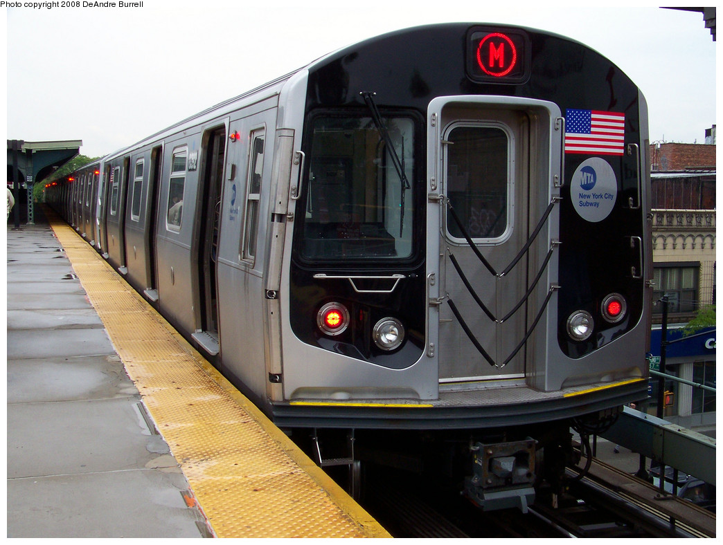 (284k, 1044x788)<br><b>Country:</b> United States<br><b>City:</b> New York<br><b>System:</b> New York City Transit<br><b>Line:</b> BMT Myrtle Avenue Line<br><b>Location:</b> Fresh Pond Road <br><b>Route:</b> M<br><b>Car:</b> R-160A-1 (Alstom, 2005-2008, 4 car sets)  8392 <br><b>Photo by:</b> DeAndre Burrell<br><b>Date:</b> 5/19/2008<br><b>Viewed (this week/total):</b> 0 / 1047
