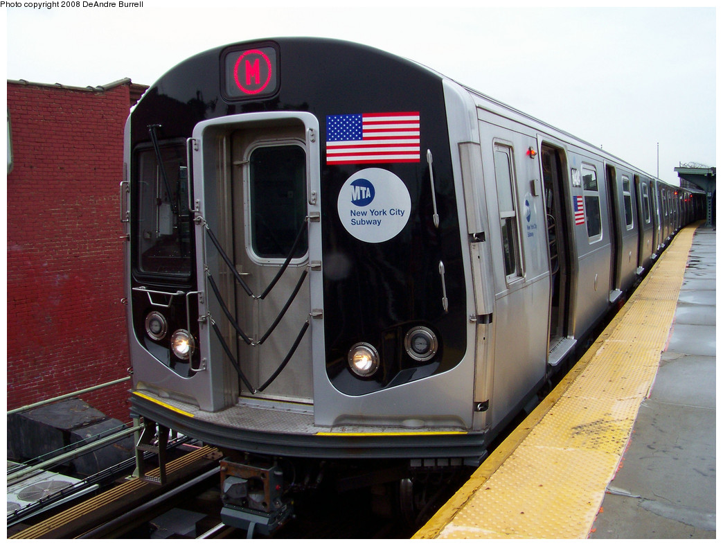 (288k, 1044x788)<br><b>Country:</b> United States<br><b>City:</b> New York<br><b>System:</b> New York City Transit<br><b>Line:</b> BMT Myrtle Avenue Line<br><b>Location:</b> Fresh Pond Road <br><b>Route:</b> M<br><b>Car:</b> R-160A-1 (Alstom, 2005-2008, 4 car sets)  8424 <br><b>Photo by:</b> DeAndre Burrell<br><b>Date:</b> 5/19/2008<br><b>Viewed (this week/total):</b> 1 / 2376