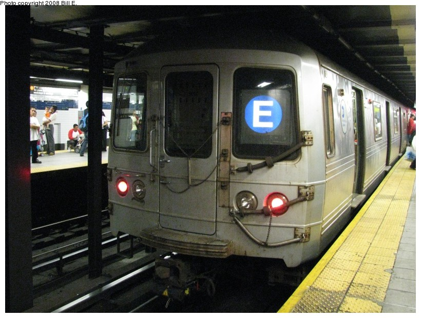 (154k, 820x620)<br><b>Country:</b> United States<br><b>City:</b> New York<br><b>System:</b> New York City Transit<br><b>Line:</b> IND Queens Boulevard Line<br><b>Location:</b> Roosevelt Avenue <br><b>Route:</b> E<br><b>Car:</b> R-46 (Pullman-Standard, 1974-75)  <br><b>Photo by:</b> Bill E.<br><b>Date:</b> 8/3/2008<br><b>Viewed (this week/total):</b> 3 / 2382