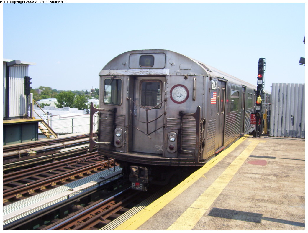 (217k, 1044x791)<br><b>Country:</b> United States<br><b>City:</b> New York<br><b>System:</b> New York City Transit<br><b>Line:</b> IND Fulton Street Line<br><b>Location:</b> 80th Street/Hudson Street <br><b>Route:</b> A<br><b>Car:</b> R-38 (St. Louis, 1966-1967)  4063 <br><b>Photo by:</b> Aliandro Brathwaite<br><b>Date:</b> 7/26/2008<br><b>Viewed (this week/total):</b> 1 / 938