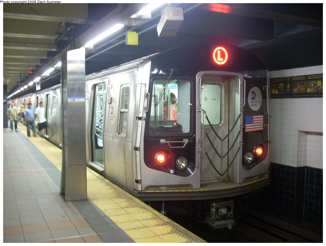 (216k, 1044x788)<br><b>Country:</b> United States<br><b>City:</b> New York<br><b>System:</b> New York City Transit<br><b>Line:</b> BMT Canarsie Line<br><b>Location:</b> Myrtle Avenue <br><b>Route:</b> L<br><b>Car:</b> R-143 (Kawasaki, 2001-2002) 8269 <br><b>Photo by:</b> Zach Summer<br><b>Date:</b> 7/10/2008<br><b>Viewed (this week/total):</b> 0 / 1887