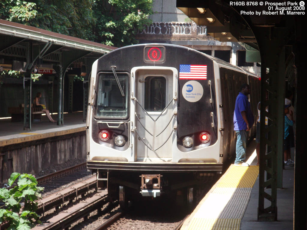 (172k, 1024x768)<br><b>Country:</b> United States<br><b>City:</b> New York<br><b>System:</b> New York City Transit<br><b>Line:</b> BMT Brighton Line<br><b>Location:</b> Prospect Park <br><b>Route:</b> Q<br><b>Car:</b> R-160B (Kawasaki, 2005-2008)  8768 <br><b>Photo by:</b> Robert Marrero<br><b>Date:</b> 8/1/2008<br><b>Viewed (this week/total):</b> 1 / 2246