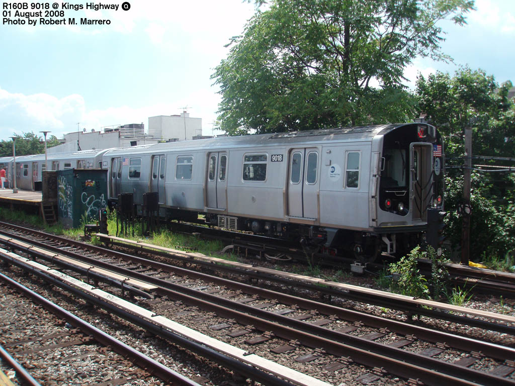 (235k, 1024x768)<br><b>Country:</b> United States<br><b>City:</b> New York<br><b>System:</b> New York City Transit<br><b>Line:</b> BMT Brighton Line<br><b>Location:</b> Kings Highway <br><b>Route:</b> Q<br><b>Car:</b> R-160B (Option 1) (Kawasaki, 2008-2009)  9018 <br><b>Photo by:</b> Robert Marrero<br><b>Date:</b> 8/1/2008<br><b>Viewed (this week/total):</b> 0 / 1547