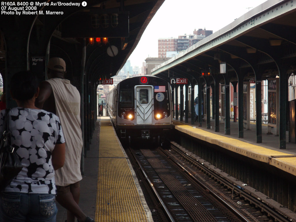 (191k, 1024x768)<br><b>Country:</b> United States<br><b>City:</b> New York<br><b>System:</b> New York City Transit<br><b>Line:</b> BMT Nassau Street/Jamaica Line<br><b>Location:</b> Myrtle Avenue <br><b>Route:</b> J<br><b>Car:</b> R-160A-1 (Alstom, 2005-2008, 4 car sets)  8400 <br><b>Photo by:</b> Robert Marrero<br><b>Date:</b> 8/7/2008<br><b>Viewed (this week/total):</b> 2 / 1886