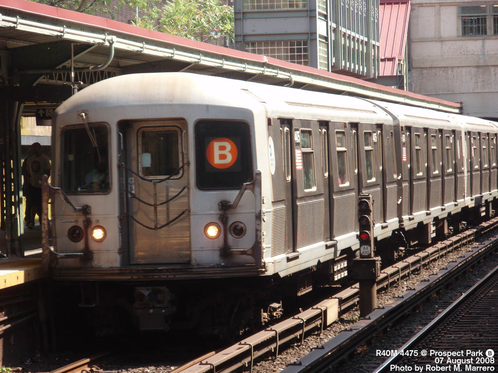 (192k, 1024x768)<br><b>Country:</b> United States<br><b>City:</b> New York<br><b>System:</b> New York City Transit<br><b>Line:</b> BMT Brighton Line<br><b>Location:</b> Prospect Park <br><b>Route:</b> B<br><b>Car:</b> R-40M (St. Louis, 1969)  4475 <br><b>Photo by:</b> Robert Marrero<br><b>Date:</b> 8/7/2008<br><b>Viewed (this week/total):</b> 0 / 1139