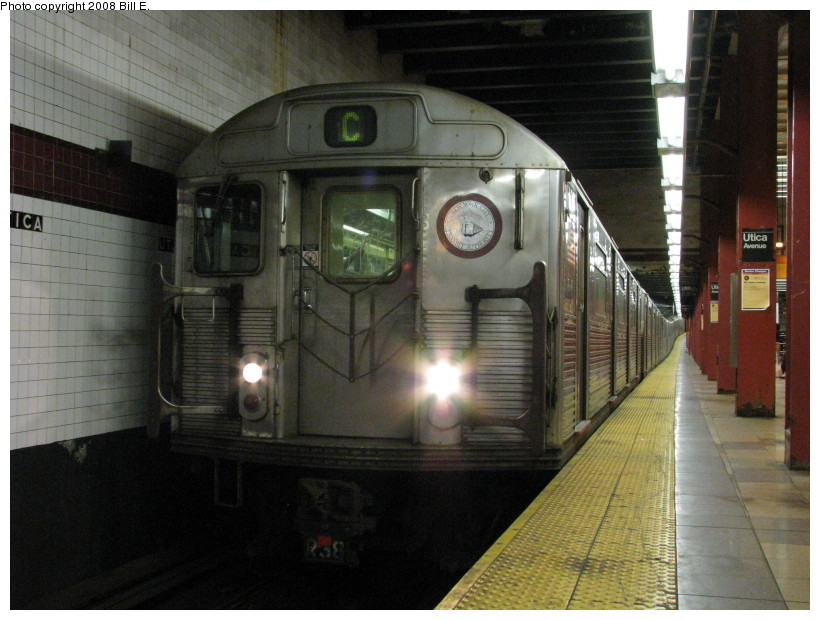 (137k, 820x620)<br><b>Country:</b> United States<br><b>City:</b> New York<br><b>System:</b> New York City Transit<br><b>Line:</b> IND Fulton Street Line<br><b>Location:</b> Utica Avenue <br><b>Route:</b> C<br><b>Car:</b> R-38 (St. Louis, 1966-1967)   <br><b>Photo by:</b> Bill E.<br><b>Date:</b> 8/8/2008<br><b>Viewed (this week/total):</b> 1 / 1297