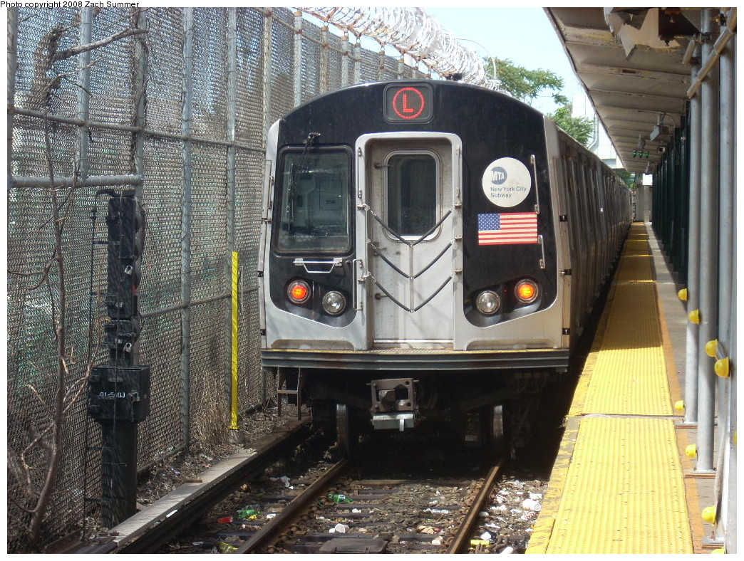 (356k, 1044x788)<br><b>Country:</b> United States<br><b>City:</b> New York<br><b>System:</b> New York City Transit<br><b>Line:</b> BMT Canarsie Line<br><b>Location:</b> Rockaway Parkway <br><b>Route:</b> L<br><b>Car:</b> R-143 (Kawasaki, 2001-2002) 8101 <br><b>Photo by:</b> Zach Summer<br><b>Date:</b> 7/10/2008<br><b>Viewed (this week/total):</b> 2 / 1803
