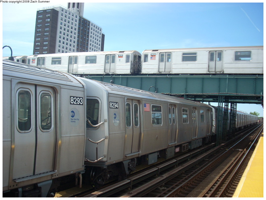 (239k, 1044x788)<br><b>Country:</b> United States<br><b>City:</b> New York<br><b>System:</b> New York City Transit<br><b>Line:</b> BMT Canarsie Line<br><b>Location:</b> Livonia Avenue <br><b>Route:</b> L<br><b>Car:</b> R-143 (Kawasaki, 2001-2002) 8294 <br><b>Photo by:</b> Zach Summer<br><b>Date:</b> 7/10/2008<br><b>Notes:</b> With R62 1509 on 3.<br><b>Viewed (this week/total):</b> 1 / 1674