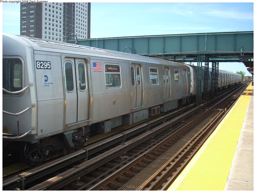 (259k, 1044x788)<br><b>Country:</b> United States<br><b>City:</b> New York<br><b>System:</b> New York City Transit<br><b>Line:</b> BMT Canarsie Line<br><b>Location:</b> Livonia Avenue <br><b>Route:</b> L<br><b>Car:</b> R-143 (Kawasaki, 2001-2002) 8295 <br><b>Photo by:</b> Zach Summer<br><b>Date:</b> 7/10/2008<br><b>Viewed (this week/total):</b> 0 / 1020