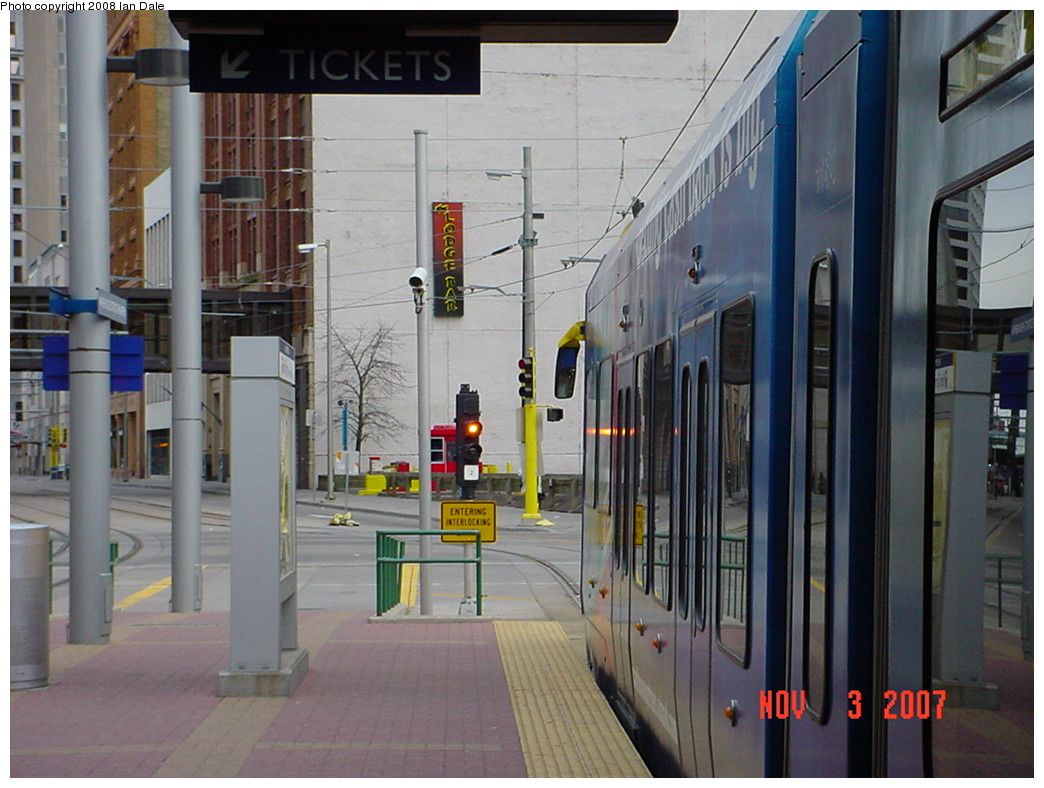 (216k, 1044x788)<br><b>Country:</b> United States<br><b>City:</b> Minneapolis, MN<br><b>System:</b> MNDOT Light Rail Transit<br><b>Line:</b> Hiawatha Line<br><b>Location:</b> <b><u>Warehouse District/Hennepin Ave </b></u><br><b>Photo by:</b> Ian Dale<br><b>Date:</b> 11/3/2007<br><b>Viewed (this week/total):</b> 5 / 722