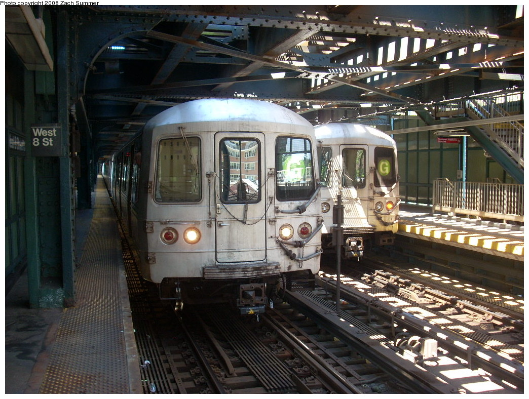 (310k, 1044x788)<br><b>Country:</b> United States<br><b>City:</b> New York<br><b>System:</b> New York City Transit<br><b>Line:</b> BMT Culver Line<br><b>Location:</b> West 8th Street <br><b>Route:</b> G<br><b>Car:</b> R-46 (Pullman-Standard, 1974-75)  <br><b>Photo by:</b> Zach Summer<br><b>Date:</b> 7/13/2008<br><b>Notes:</b> With 5892 on CI-bound track.<br><b>Viewed (this week/total):</b> 0 / 1664