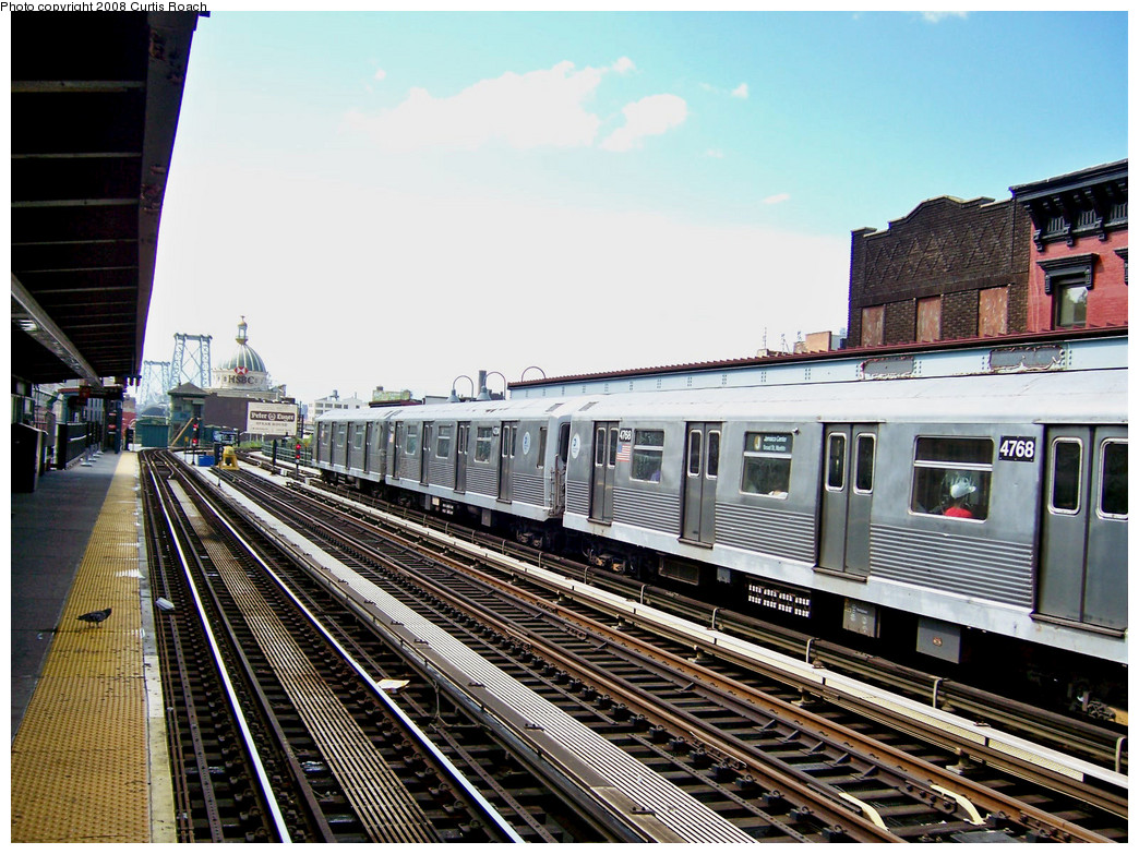 (329k, 1044x783)<br><b>Country:</b> United States<br><b>City:</b> New York<br><b>System:</b> New York City Transit<br><b>Line:</b> BMT Nassau Street/Jamaica Line<br><b>Location:</b> Marcy Avenue <br><b>Route:</b> J<br><b>Car:</b> R-42 (St. Louis, 1969-1970)  4768 <br><b>Photo by:</b> Curtis Roach<br><b>Date:</b> 8/13/2008<br><b>Viewed (this week/total):</b> 2 / 1364