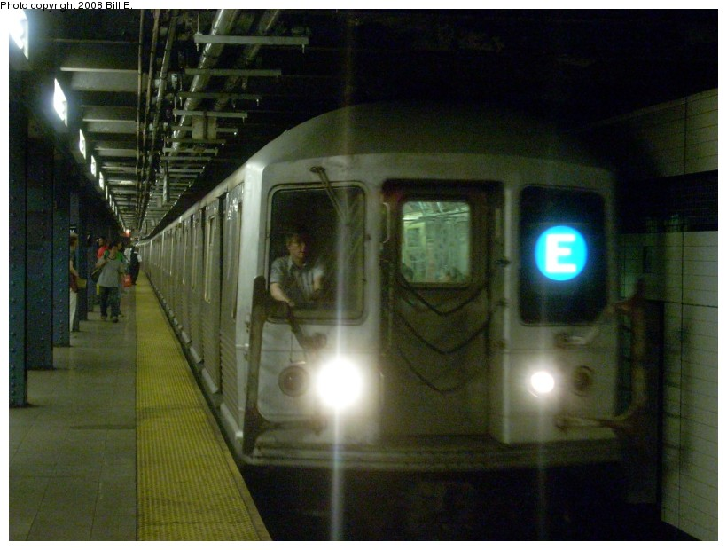 (152k, 820x620)<br><b>Country:</b> United States<br><b>City:</b> New York<br><b>System:</b> New York City Transit<br><b>Line:</b> IND Queens Boulevard Line<br><b>Location:</b> 7th Avenue/53rd Street <br><b>Route:</b> E<br><b>Car:</b> R-42 (St. Louis, 1969-1970)  4646 <br><b>Photo by:</b> Bill E.<br><b>Date:</b> 8/16/2008<br><b>Viewed (this week/total):</b> 6 / 2117