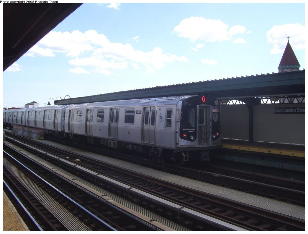 (165k, 1044x791)<br><b>Country:</b> United States<br><b>City:</b> New York<br><b>System:</b> New York City Transit<br><b>Line:</b> BMT Nassau Street/Jamaica Line<br><b>Location:</b> Kosciuszko Street <br><b>Route:</b> J<br><b>Car:</b> R-160A-1 (Alstom, 2005-2008, 4 car sets)  8460 <br><b>Photo by:</b> Roberto C. Tobar<br><b>Date:</b> 8/16/2008<br><b>Viewed (this week/total):</b> 0 / 830