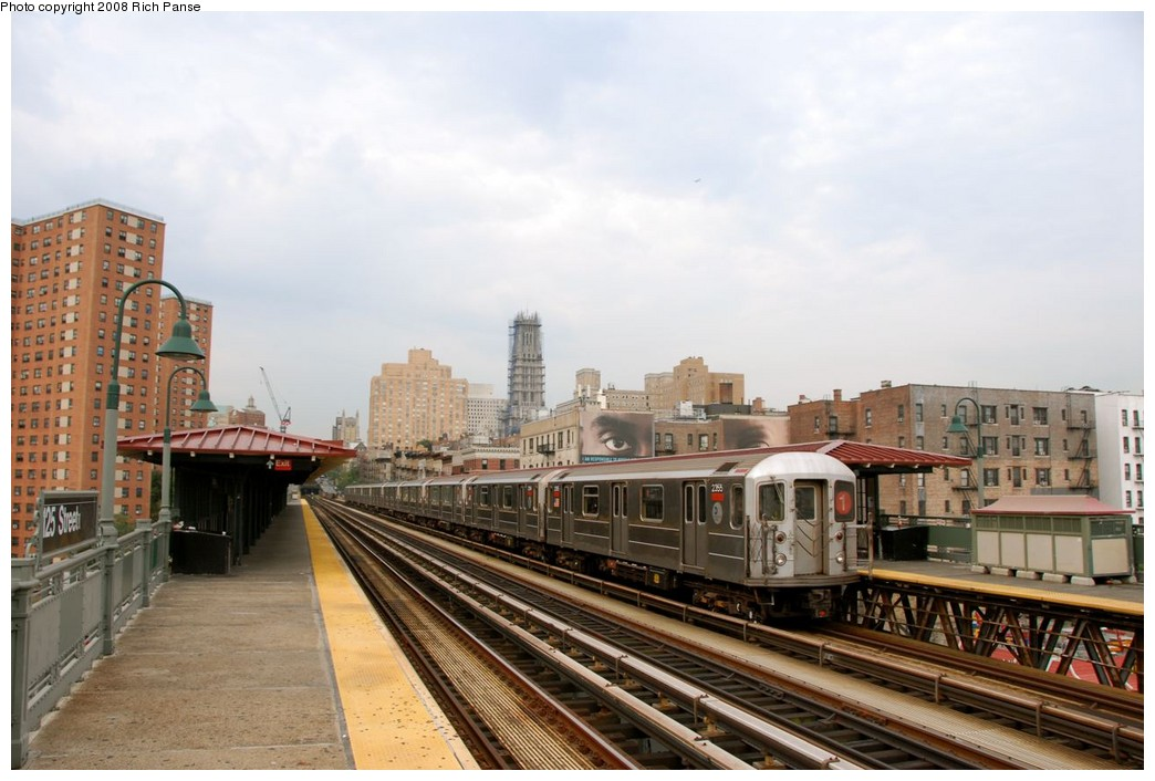 (170k, 1044x706)<br><b>Country:</b> United States<br><b>City:</b> New York<br><b>System:</b> New York City Transit<br><b>Line:</b> IRT West Side Line<br><b>Location:</b> 125th Street <br><b>Route:</b> 1<br><b>Car:</b> R-62A (Bombardier, 1984-1987)  2355 <br><b>Photo by:</b> Richard Panse<br><b>Date:</b> 8/2/2008<br><b>Viewed (this week/total):</b> 3 / 1306