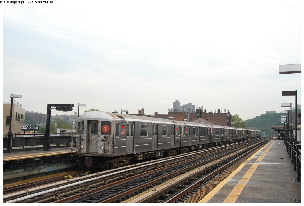 (171k, 1044x706)<br><b>Country:</b> United States<br><b>City:</b> New York<br><b>System:</b> New York City Transit<br><b>Line:</b> IRT West Side Line<br><b>Location:</b> 207th Street <br><b>Route:</b> 1<br><b>Car:</b> R-62A (Bombardier, 1984-1987)  2270 <br><b>Photo by:</b> Richard Panse<br><b>Date:</b> 8/2/2008<br><b>Viewed (this week/total):</b> 2 / 858