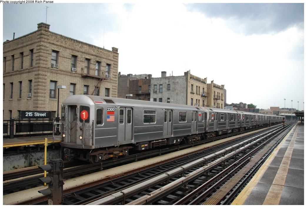 (204k, 1044x706)<br><b>Country:</b> United States<br><b>City:</b> New York<br><b>System:</b> New York City Transit<br><b>Line:</b> IRT West Side Line<br><b>Location:</b> 215th Street <br><b>Route:</b> 1<br><b>Car:</b> R-62A (Bombardier, 1984-1987)  2300 <br><b>Photo by:</b> Richard Panse<br><b>Date:</b> 8/2/2008<br><b>Viewed (this week/total):</b> 1 / 1277