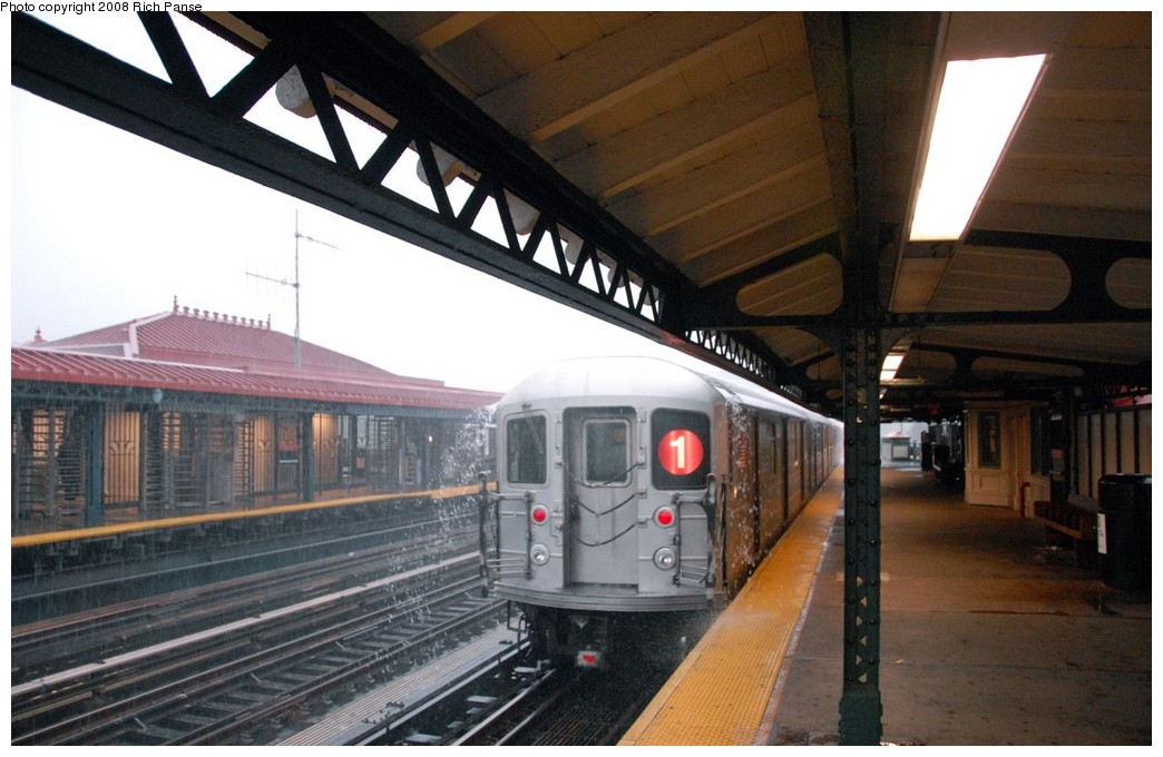 (170k, 1044x680)<br><b>Country:</b> United States<br><b>City:</b> New York<br><b>System:</b> New York City Transit<br><b>Line:</b> IRT West Side Line<br><b>Location:</b> 231st Street <br><b>Route:</b> 1<br><b>Car:</b> R-62A (Bombardier, 1984-1987)   <br><b>Photo by:</b> Richard Panse<br><b>Date:</b> 8/2/2008<br><b>Viewed (this week/total):</b> 3 / 1247