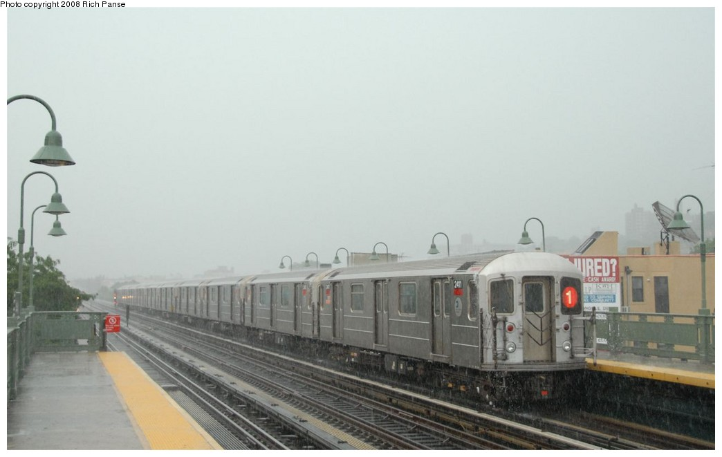 (113k, 1044x661)<br><b>Country:</b> United States<br><b>City:</b> New York<br><b>System:</b> New York City Transit<br><b>Line:</b> IRT West Side Line<br><b>Location:</b> 231st Street <br><b>Route:</b> 1<br><b>Car:</b> R-62A (Bombardier, 1984-1987)  2411 <br><b>Photo by:</b> Richard Panse<br><b>Date:</b> 8/2/2008<br><b>Viewed (this week/total):</b> 0 / 944