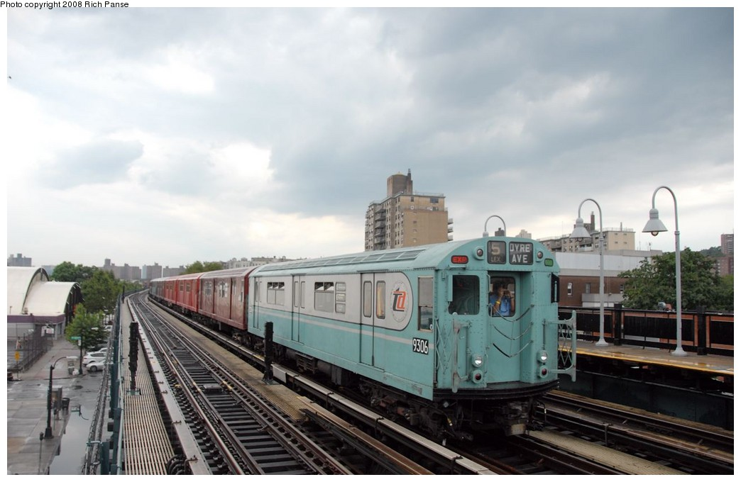 (147k, 1044x680)<br><b>Country:</b> United States<br><b>City:</b> New York<br><b>System:</b> New York City Transit<br><b>Line:</b> IRT West Side Line<br><b>Location:</b> 238th Street <br><b>Route:</b> Transit Museum Nostalgia Train<br><b>Car:</b> R-33 World's Fair (St. Louis, 1963-64) 9306 <br><b>Photo by:</b> Richard Panse<br><b>Date:</b> 8/2/2008<br><b>Viewed (this week/total):</b> 0 / 753