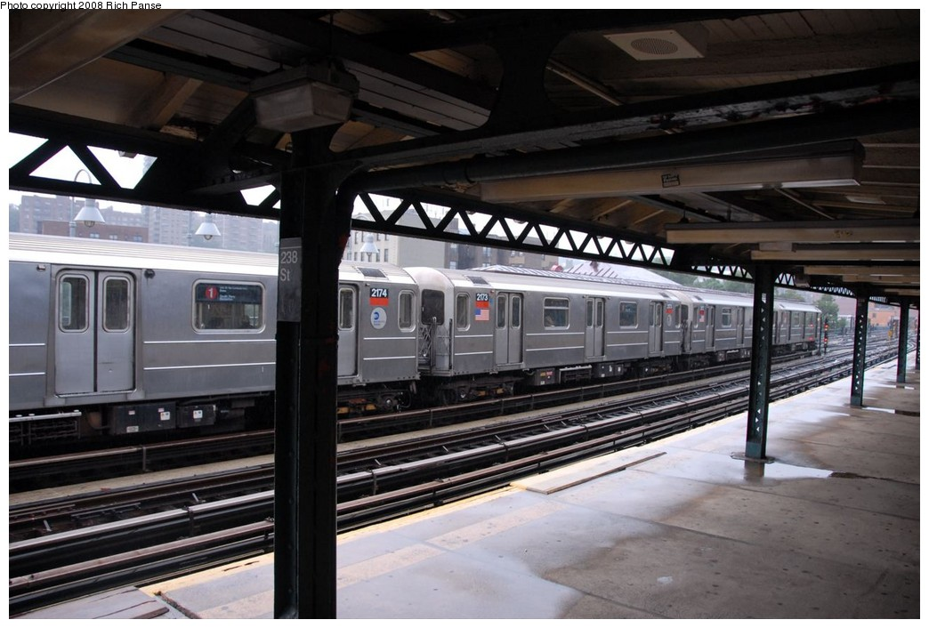 (206k, 1044x706)<br><b>Country:</b> United States<br><b>City:</b> New York<br><b>System:</b> New York City Transit<br><b>Line:</b> IRT West Side Line<br><b>Location:</b> 238th Street <br><b>Route:</b> 1<br><b>Car:</b> R-62A (Bombardier, 1984-1987)  2173 <br><b>Photo by:</b> Richard Panse<br><b>Date:</b> 8/2/2008<br><b>Viewed (this week/total):</b> 0 / 1287