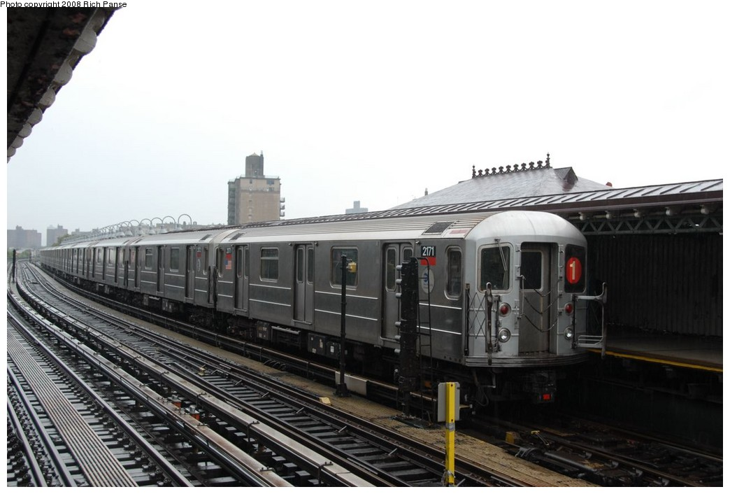 (182k, 1044x706)<br><b>Country:</b> United States<br><b>City:</b> New York<br><b>System:</b> New York City Transit<br><b>Line:</b> IRT West Side Line<br><b>Location:</b> 238th Street <br><b>Route:</b> 1<br><b>Car:</b> R-62A (Bombardier, 1984-1987)  2171 <br><b>Photo by:</b> Richard Panse<br><b>Date:</b> 8/2/2008<br><b>Viewed (this week/total):</b> 5 / 780
