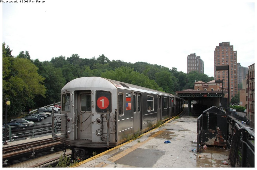 (156k, 1044x692)<br><b>Country:</b> United States<br><b>City:</b> New York<br><b>System:</b> New York City Transit<br><b>Line:</b> IRT West Side Line<br><b>Location:</b> Dyckman Street <br><b>Route:</b> 1<br><b>Car:</b> R-62A (Bombardier, 1984-1987)  2300 <br><b>Photo by:</b> Richard Panse<br><b>Date:</b> 8/2/2008<br><b>Viewed (this week/total):</b> 1 / 1061