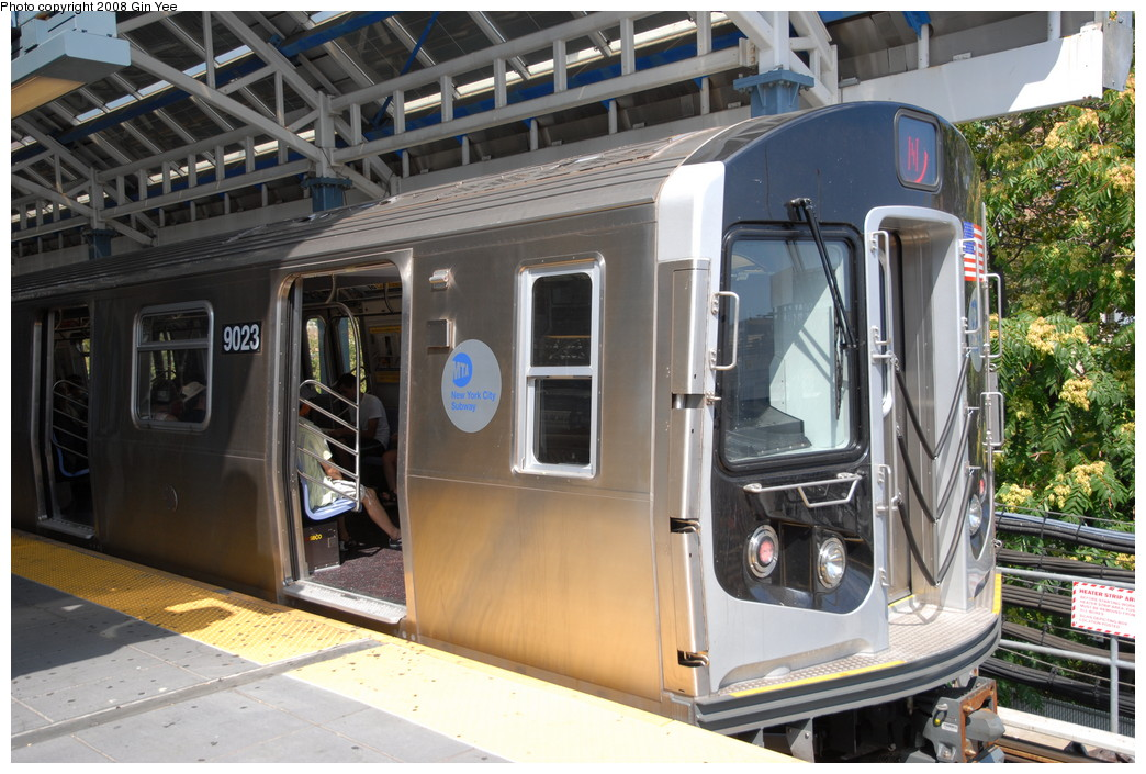 (260k, 1044x705)<br><b>Country:</b> United States<br><b>City:</b> New York<br><b>System:</b> New York City Transit<br><b>Location:</b> Coney Island/Stillwell Avenue<br><b>Route:</b> N<br><b>Car:</b> R-160B (Option 1) (Kawasaki, 2008-2009)  9023 <br><b>Photo by:</b> Gin Yee<br><b>Date:</b> 8/17/2008<br><b>Viewed (this week/total):</b> 0 / 2381