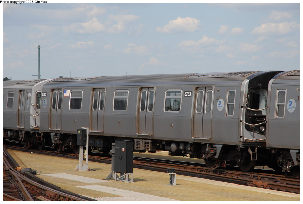 (185k, 1044x705)<br><b>Country:</b> United States<br><b>City:</b> New York<br><b>System:</b> New York City Transit<br><b>Location:</b> Coney Island/Stillwell Avenue<br><b>Route:</b> N<br><b>Car:</b> R-160B (Kawasaki, 2005-2008)  8783 <br><b>Photo by:</b> Gin Yee<br><b>Date:</b> 8/17/2008<br><b>Viewed (this week/total):</b> 0 / 1036