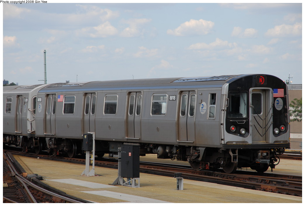 (182k, 1044x705)<br><b>Country:</b> United States<br><b>City:</b> New York<br><b>System:</b> New York City Transit<br><b>Location:</b> Coney Island/Stillwell Avenue<br><b>Route:</b> N<br><b>Car:</b> R-160B (Kawasaki, 2005-2008)  8818 <br><b>Photo by:</b> Gin Yee<br><b>Date:</b> 8/17/2008<br><b>Viewed (this week/total):</b> 1 / 768