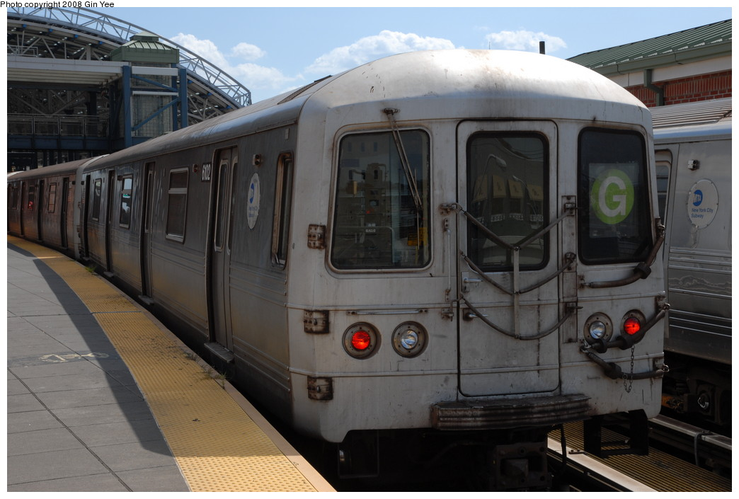 (205k, 1044x705)<br><b>Country:</b> United States<br><b>City:</b> New York<br><b>System:</b> New York City Transit<br><b>Location:</b> Coney Island/Stillwell Avenue<br><b>Route:</b> G<br><b>Car:</b> R-46 (Pullman-Standard, 1974-75) 6102 <br><b>Photo by:</b> Gin Yee<br><b>Date:</b> 8/17/2008<br><b>Viewed (this week/total):</b> 0 / 705