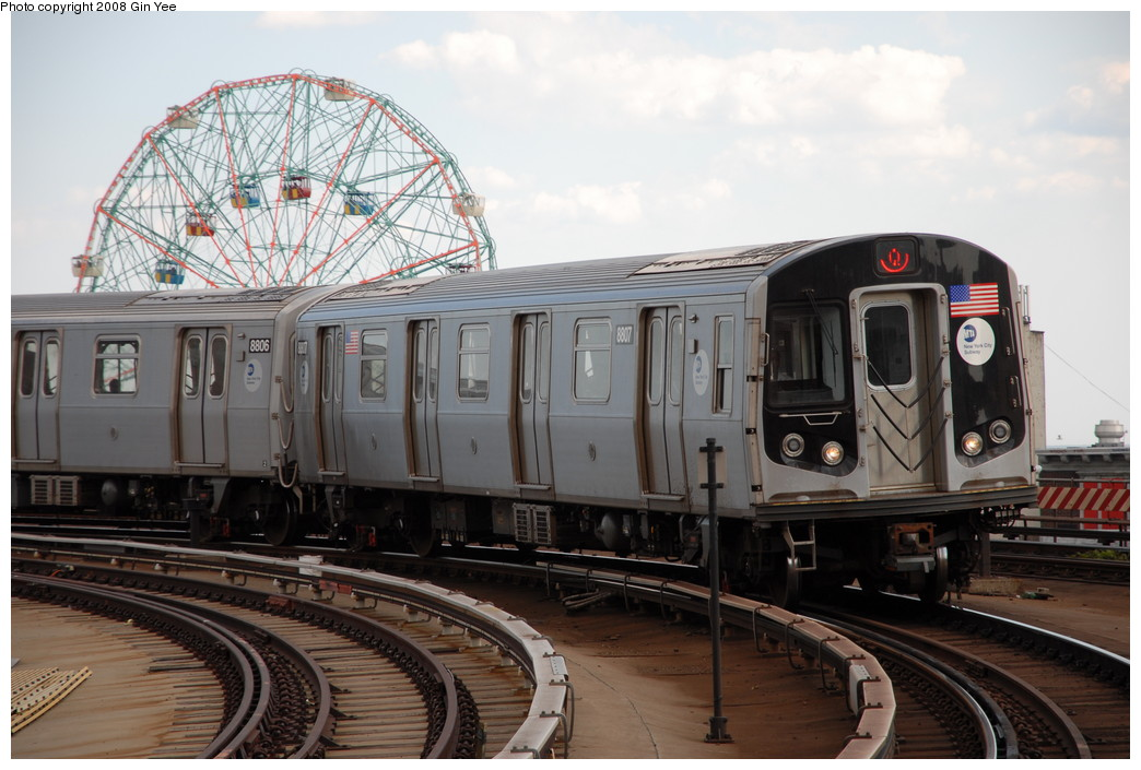 (220k, 1044x705)<br><b>Country:</b> United States<br><b>City:</b> New York<br><b>System:</b> New York City Transit<br><b>Location:</b> Coney Island/Stillwell Avenue<br><b>Route:</b> Q<br><b>Car:</b> R-160B (Kawasaki, 2005-2008)  8807 <br><b>Photo by:</b> Gin Yee<br><b>Date:</b> 8/17/2008<br><b>Viewed (this week/total):</b> 3 / 1832