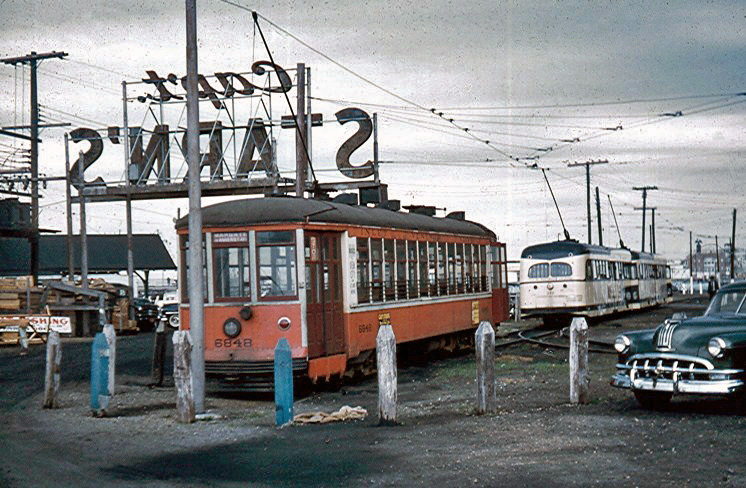 (198k, 746x488)<br><b>Country:</b> United States<br><b>City:</b> Atlantic City, NJ<br><b>System:</b> Atlantic City Transit<br><b>Photo by:</b> Brian J. Cudahy<br><b>Date:</b> 8/3/1954<br><b>Notes:</b> View of Inlet loop, with Hog Island car No. 6848 in foreground.<br><b>Viewed (this week/total):</b> 8 / 1708