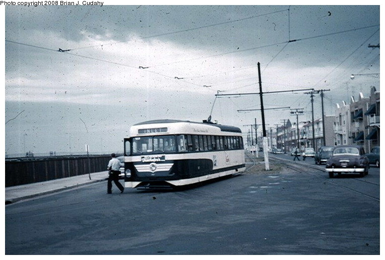 (119k, 765x518)<br><b>Country:</b> United States<br><b>City:</b> Atlantic City, NJ<br><b>System:</b> Atlantic City Transit<br><b>Car:</b> Atlantic City Brilliner (J.G. Brill, 1940)  <br><b>Photo by:</b> Brian J. Cudahy<br><b>Date:</b> 8/3/1954<br><b>Notes:</b> Inlet-bound Brilliner.<br><b>Viewed (this week/total):</b> 1 / 1152