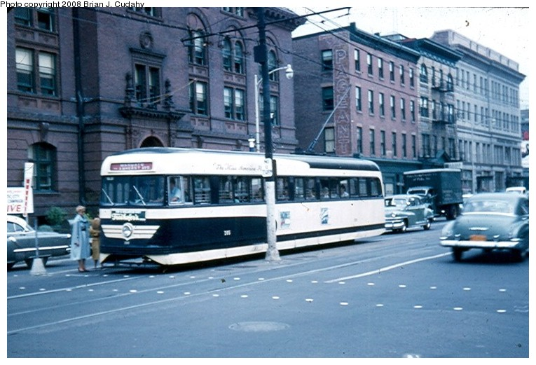 (131k, 765x521)<br><b>Country:</b> United States<br><b>City:</b> Atlantic City, NJ<br><b>System:</b> Atlantic City Transit<br><b>Car:</b> Atlantic City Brilliner (J.G. Brill, 1940)  <br><b>Photo by:</b> Brian J. Cudahy<br><b>Date:</b> 8/3/1954<br><b>Notes:</b> Margate-bound Brilliner on Atlantic Avenue.<br><b>Viewed (this week/total):</b> 5 / 788
