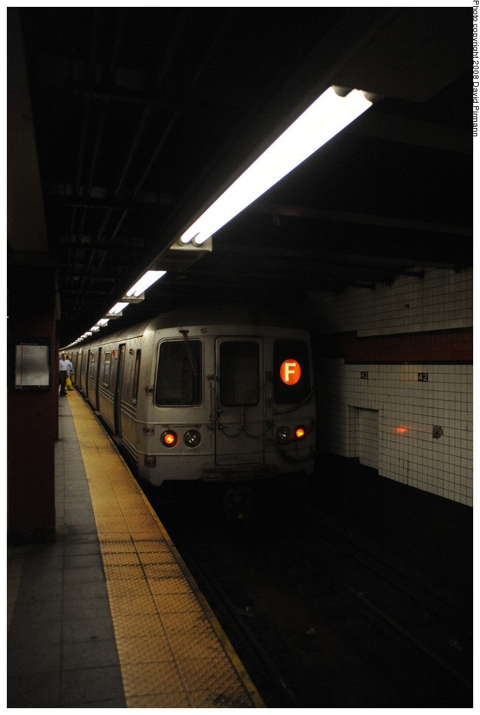 (167k, 701x1044)<br><b>Country:</b> United States<br><b>City:</b> New York<br><b>System:</b> New York City Transit<br><b>Line:</b> IND 6th Avenue Line<br><b>Location:</b> 42nd Street/Bryant Park <br><b>Route:</b> F<br><b>Car:</b> R-46 (Pullman-Standard, 1974-75) 5964 <br><b>Photo by:</b> David Pirmann<br><b>Date:</b> 8/21/2008<br><b>Viewed (this week/total):</b> 5 / 931