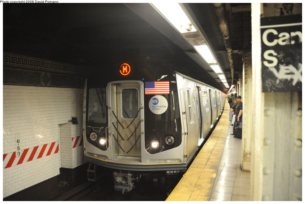 (235k, 1044x701)<br><b>Country:</b> United States<br><b>City:</b> New York<br><b>System:</b> New York City Transit<br><b>Line:</b> BMT Nassau Street/Jamaica Line<br><b>Location:</b> Canal Street <br><b>Route:</b> M<br><b>Car:</b> R-160A-1 (Alstom, 2005-2008, 4 car sets)  8613 <br><b>Photo by:</b> David Pirmann<br><b>Date:</b> 8/21/2008<br><b>Viewed (this week/total):</b> 2 / 1844