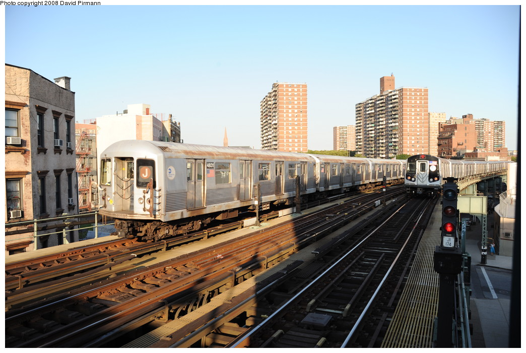 (282k, 1044x701)<br><b>Country:</b> United States<br><b>City:</b> New York<br><b>System:</b> New York City Transit<br><b>Line:</b> BMT Nassau Street/Jamaica Line<br><b>Location:</b> Hewes Street <br><b>Route:</b> J<br><b>Car:</b> R-42 (St. Louis, 1969-1970)  4831 <br><b>Photo by:</b> David Pirmann<br><b>Date:</b> 8/21/2008<br><b>Viewed (this week/total):</b> 4 / 798