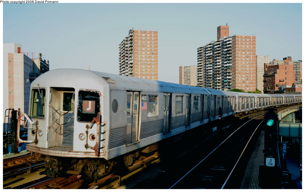 (255k, 1044x660)<br><b>Country:</b> United States<br><b>City:</b> New York<br><b>System:</b> New York City Transit<br><b>Line:</b> BMT Nassau Street/Jamaica Line<br><b>Location:</b> Hewes Street <br><b>Route:</b> J<br><b>Car:</b> R-42 (St. Louis, 1969-1970)  4812 <br><b>Photo by:</b> David Pirmann<br><b>Date:</b> 8/21/2008<br><b>Viewed (this week/total):</b> 0 / 724
