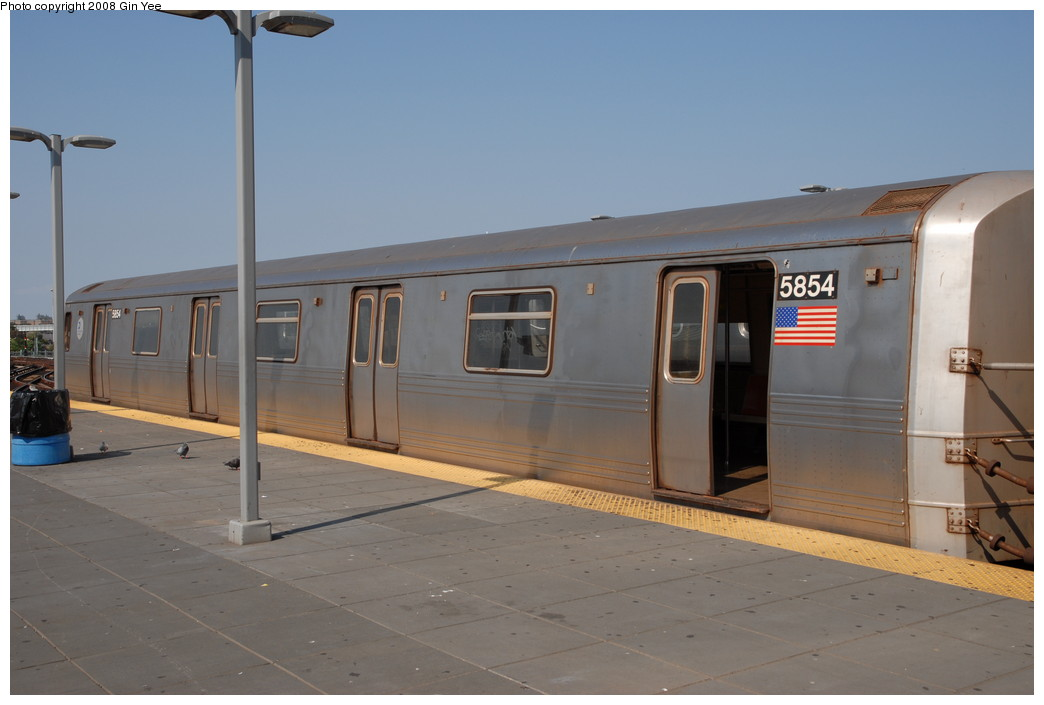 (161k, 1044x705)<br><b>Country:</b> United States<br><b>City:</b> New York<br><b>System:</b> New York City Transit<br><b>Location:</b> Coney Island/Stillwell Avenue<br><b>Route:</b> F<br><b>Car:</b> R-46 (Pullman-Standard, 1974-75) 5854 <br><b>Photo by:</b> Gin Yee<br><b>Date:</b> 8/24/2008<br><b>Viewed (this week/total):</b> 0 / 900