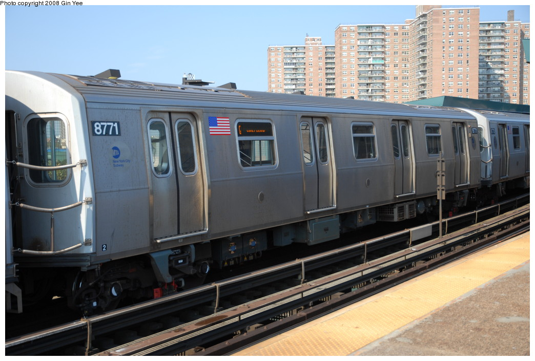 (228k, 1044x705)<br><b>Country:</b> United States<br><b>City:</b> New York<br><b>System:</b> New York City Transit<br><b>Line:</b> BMT Brighton Line<br><b>Location:</b> West 8th Street <br><b>Route:</b> Q<br><b>Car:</b> R-160B (Kawasaki, 2005-2008)  8771 <br><b>Photo by:</b> Gin Yee<br><b>Date:</b> 8/24/2008<br><b>Viewed (this week/total):</b> 0 / 1552