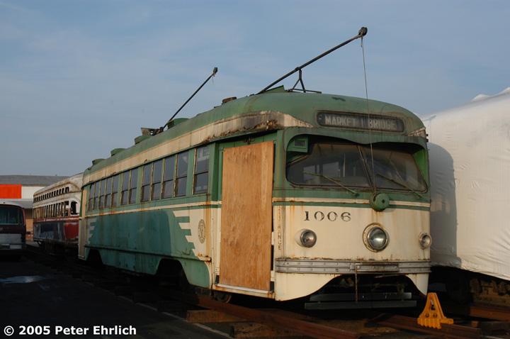 (104k, 720x478)<br><b>Country:</b> United States<br><b>City:</b> San Francisco/Bay Area, CA<br><b>System:</b> SF MUNI<br><b>Location:</b> Marin Division Depot <br><b>Car:</b> SF MUNI PCC Torpedo Double-End (St. Louis Car Co., 1948)  1006 <br><b>Photo by:</b> Peter Ehrlich<br><b>Date:</b> 12/1/2002<br><b>Notes:</b> Torpedo PCC 1006 in storage at Marin Division, pending rebuilding.<br><b>Viewed (this week/total):</b> 5 / 3486