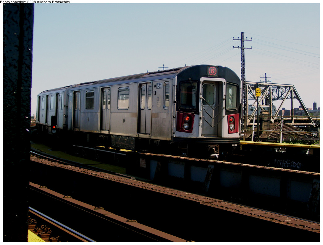 (209k, 1044x791)<br><b>Country:</b> United States<br><b>City:</b> New York<br><b>System:</b> New York City Transit<br><b>Line:</b> IRT Pelham Line<br><b>Location:</b> Whitlock Avenue <br><b>Route:</b> 6<br><b>Car:</b> R-142A (Primary Order, Kawasaki, 1999-2002)  7561 <br><b>Photo by:</b> Aliandro Brathwaite<br><b>Date:</b> 8/20/2008<br><b>Viewed (this week/total):</b> 4 / 856