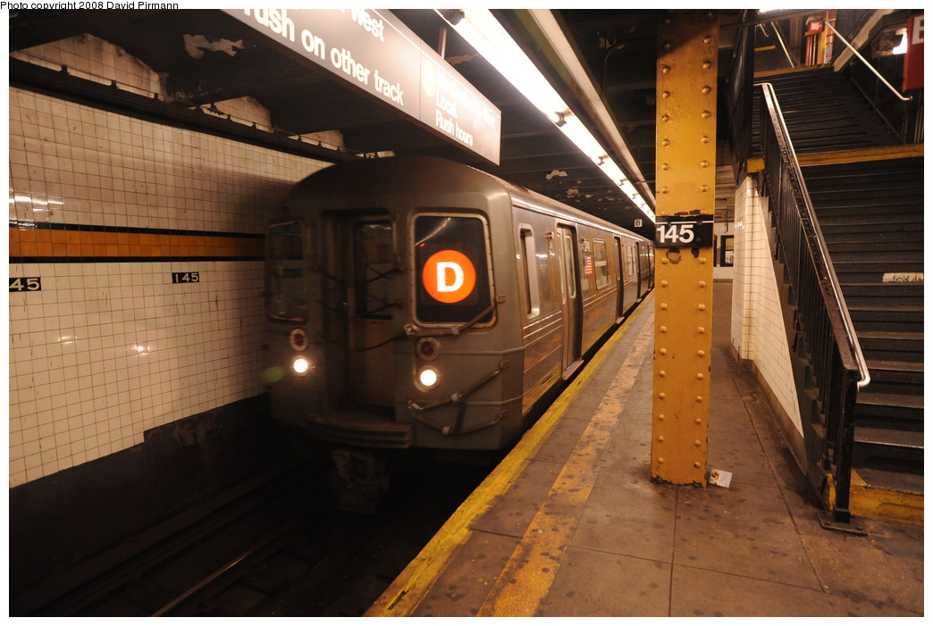 (252k, 1044x701)<br><b>Country:</b> United States<br><b>City:</b> New York<br><b>System:</b> New York City Transit<br><b>Line:</b> IND Concourse Line<br><b>Location:</b> 145th Street <br><b>Route:</b> D<br><b>Car:</b> R-68 (Westinghouse-Amrail, 1986-1988)  2740 <br><b>Photo by:</b> David Pirmann<br><b>Date:</b> 8/27/2008<br><b>Viewed (this week/total):</b> 0 / 1251