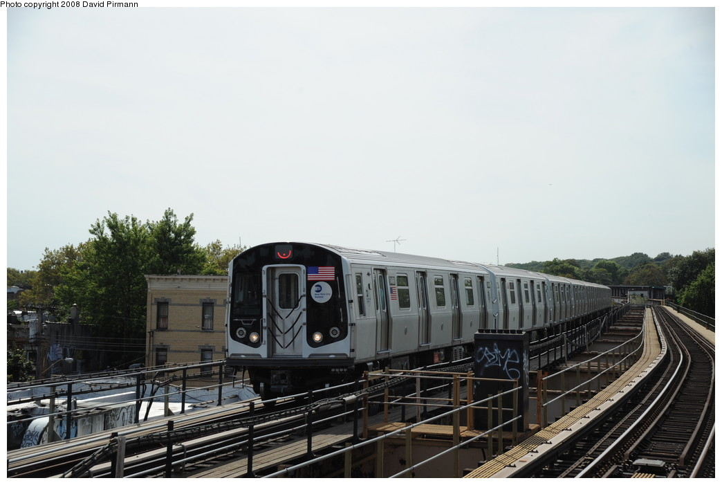(217k, 1044x701)<br><b>Country:</b> United States<br><b>City:</b> New York<br><b>System:</b> New York City Transit<br><b>Line:</b> BMT Nassau Street/Jamaica Line<br><b>Location:</b> 75th Street/Elderts Lane <br><b>Route:</b> J<br><b>Car:</b> R-160A-1 (Alstom, 2005-2008, 4 car sets)  8460 <br><b>Photo by:</b> David Pirmann<br><b>Date:</b> 8/27/2008<br><b>Viewed (this week/total):</b> 0 / 1267